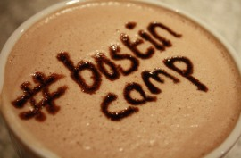 photo of hot chocolate with #bostincamp written in chocolate sauce on the froth