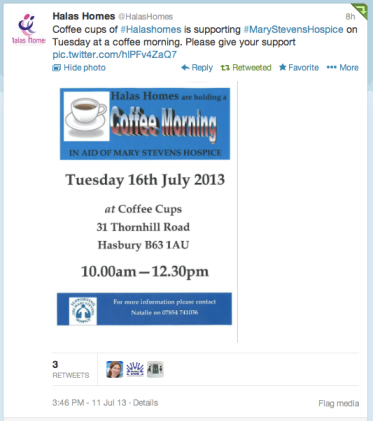 image of a tweet from Halas Homes  about a coffee morning
