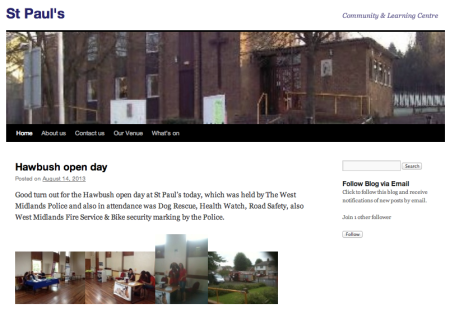 screen grab of St Paul's Community Learning Centre blog