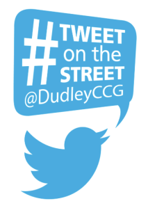 twitter bird logo with speech bubble saying '#tweet on the street @dudleyccg""