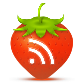 rss icon on a drawing of a strawberry