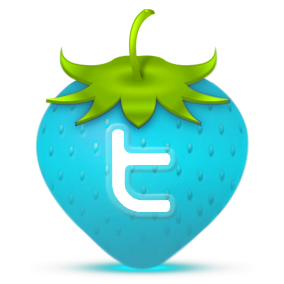 twitter icon on a drawing of a strawberry