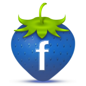 facebook icon on a drawing of a strawberry