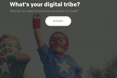 Screen grab from RSA quiz 'what's your digital tribe' with photo of boys in superhero costumes
