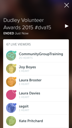 screenshot of list of viewers on Periscope broadcast from Dudley Volunteer Awards 2015